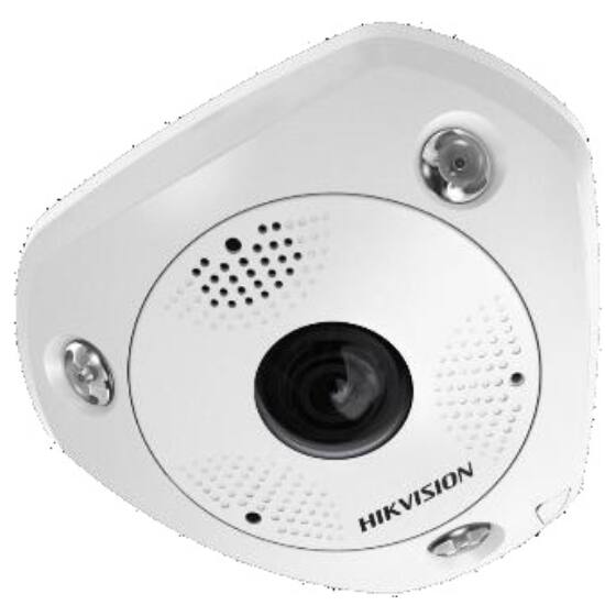 Hikvision DS-2CD63C5G0E-IVS (B) 12 MP 360° vandálbiztos IR Smart IP panorámakamera; hang/riasztás be-/kimenet;