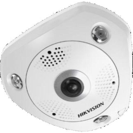 Hikvision DS-2CD63C5G0E-IS (B) 12 MP 360° IR Smart IP panorámakamera hang és riasztás be- és kimenet beépített