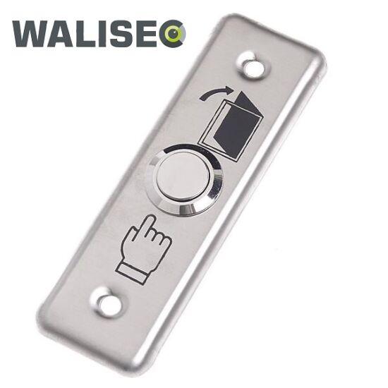 WALISEC WS-DB001 ajtónyitó gomb, 91x28x20mm, rozsdamentes acél panel, fém gomb, NO