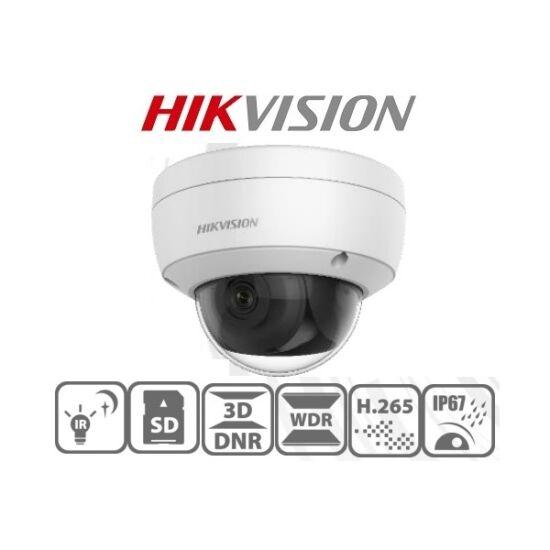Hikvision IP dómkamera - DS-2CD2126G1-I (2MP, 2,8mm, kültéri, H265+, IP67, IR30m, ICR, WDR, 3DNR, PoE,IK10, Darkfighter)